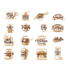 Coffee cup espresso machine pot mug croissant vector