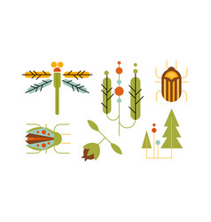collection of insects and trees nature and vector image