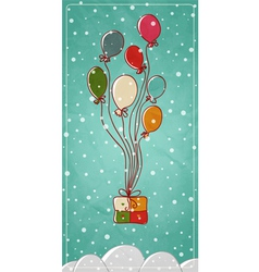 Colored balloons tied to a gift box vector