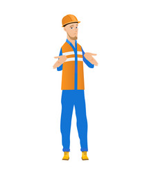 Confused caucasian builder shrugging shoulders vector