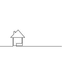 Continuous one line drawing house isolated vector