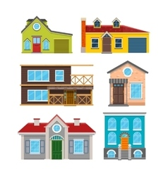 Cottage house flat icons vector