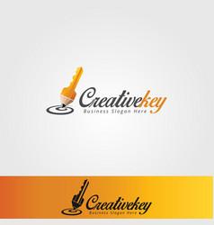 creative key logo template vector image