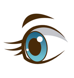 cute cartoon eye child eyelashes icon vector image