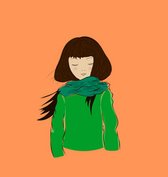 cute winter girl with closed eyes dressed in green vector image
