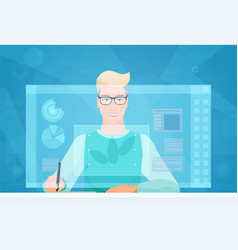 designer man working using virtual media interface vector image