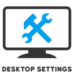 Desktop Settings Flat Icon with Caption vector