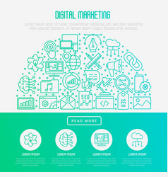 digital marketing concept in half circle vector image