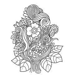 Doodle art flowers Hand vector image