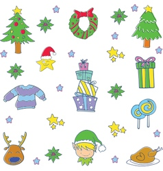 Doodle of christmas set gift spruce candy vector