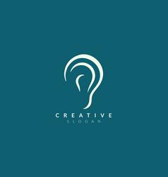 Ear logo design with sound waveforms minimalist vector