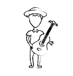 Figure man with hat and guitar instrument vector
