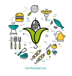 Fire roasted corn - round concept vector