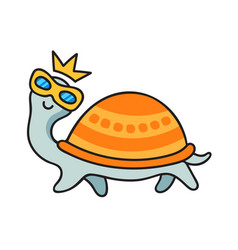Funny turtle in sunglasses and crown vector