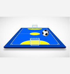 futsal court or field with ball perspective view vector image