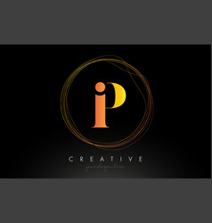 gold artistic p letter logo design with creative vector image