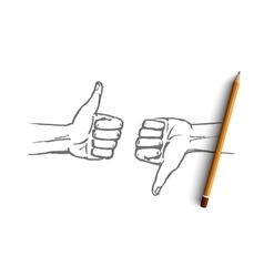 Hand drawn human hands with like and dislike vector