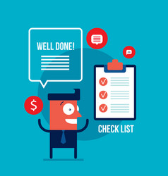 happy excited businessman with check list vector image