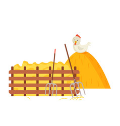 Hayfork and hay bale chicken and wooden fence vector