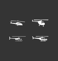 helicopter icon set grey vector image