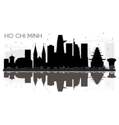 Ho chi minh city skyline black and white vector