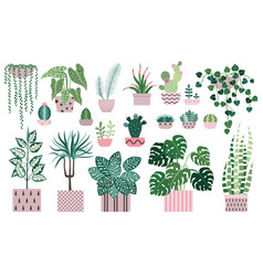 House plants and indoor home flowers icons vector