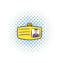 Identification card icon comics style vector