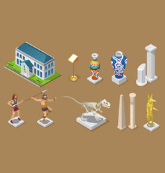 Isometric museum icons collection vector
