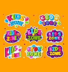 Kids zone logo colored emblem for game children vector