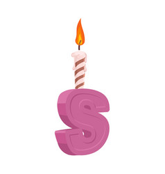 letter s birthday font letter and candle vector image