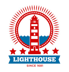 lighthouse isolated icon marine building beacon on vector image