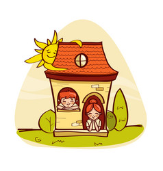 Llittle house with kids vector