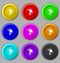 Loader Icon sign symbol on nine round colourful vector