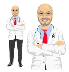 mature medical male doctor with arms folded vector image
