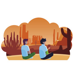 Men couple contemplating horizon in desert vector