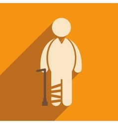 Modern flat icon with long shadow people leg vector
