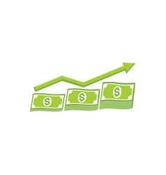 Money growth chart and investment currency vector