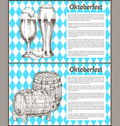 Oktoberfest posters set keg of beer and ale glass vector