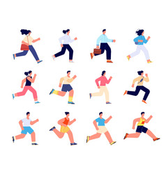 people running female run race healthy group vector image