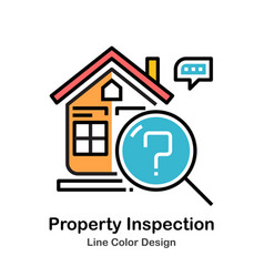 Property inspection line color icon vector