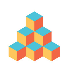pyramid of cubes in retro colors 3d vector image