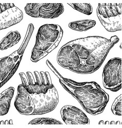 Raw meat seamless pattern drawing hand vector