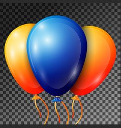 realistic blue and orange balloons with ribbons vector image