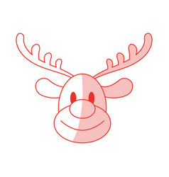 Red shading silhouette cartoon cute face reindeer vector