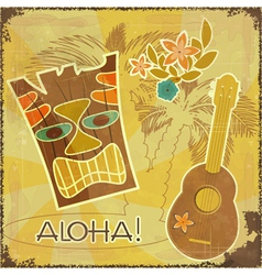 Retro Hawaiian postcard vector