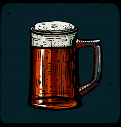 retro style beer mug cup or glass engraving red vector image
