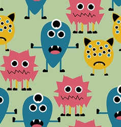 Seamless Pattern with Cute Funny Monsters vector