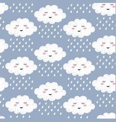 seamless pattern with cute happy cartoon kawaii vector image