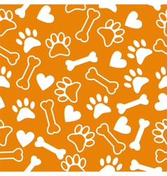 Seamless pattern with dog paw and print bone vector image vector image