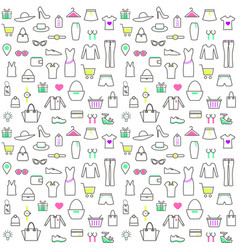 seamless pattern with linear clothes and vector image